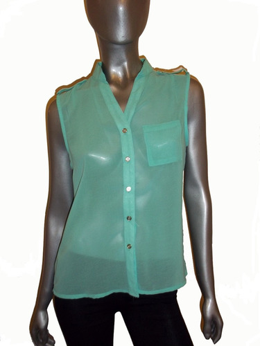 camisa de gaza cuello mao, blusa, con charreteras