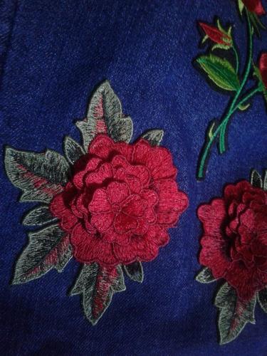 camisa de jean elastizada mujer bordada + apliques