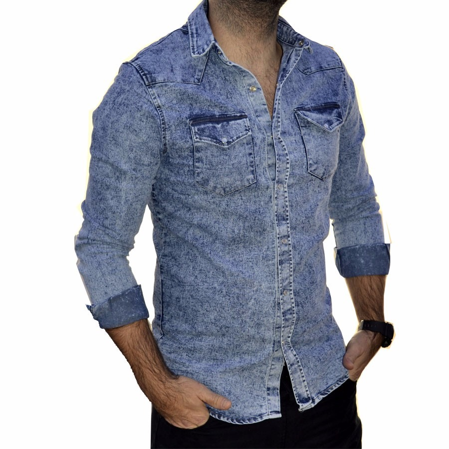 9795d41dc camisa de jean nevada elastizada hombre the big shop. Cargando zoom.