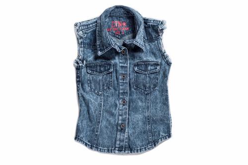 camisa de jean para beba - sin mangas -