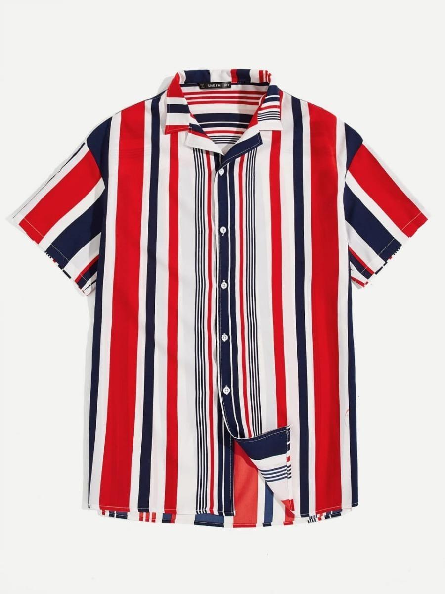 ahorros fantásticos disfruta el precio más bajo nueva selección Camisa De Manga Corta De Rayas Verticales Para Hombre