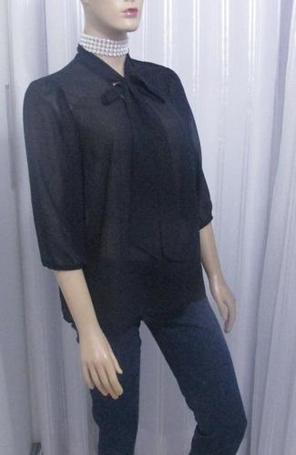 camisa de musseline preta com laço - forever 21 - usada