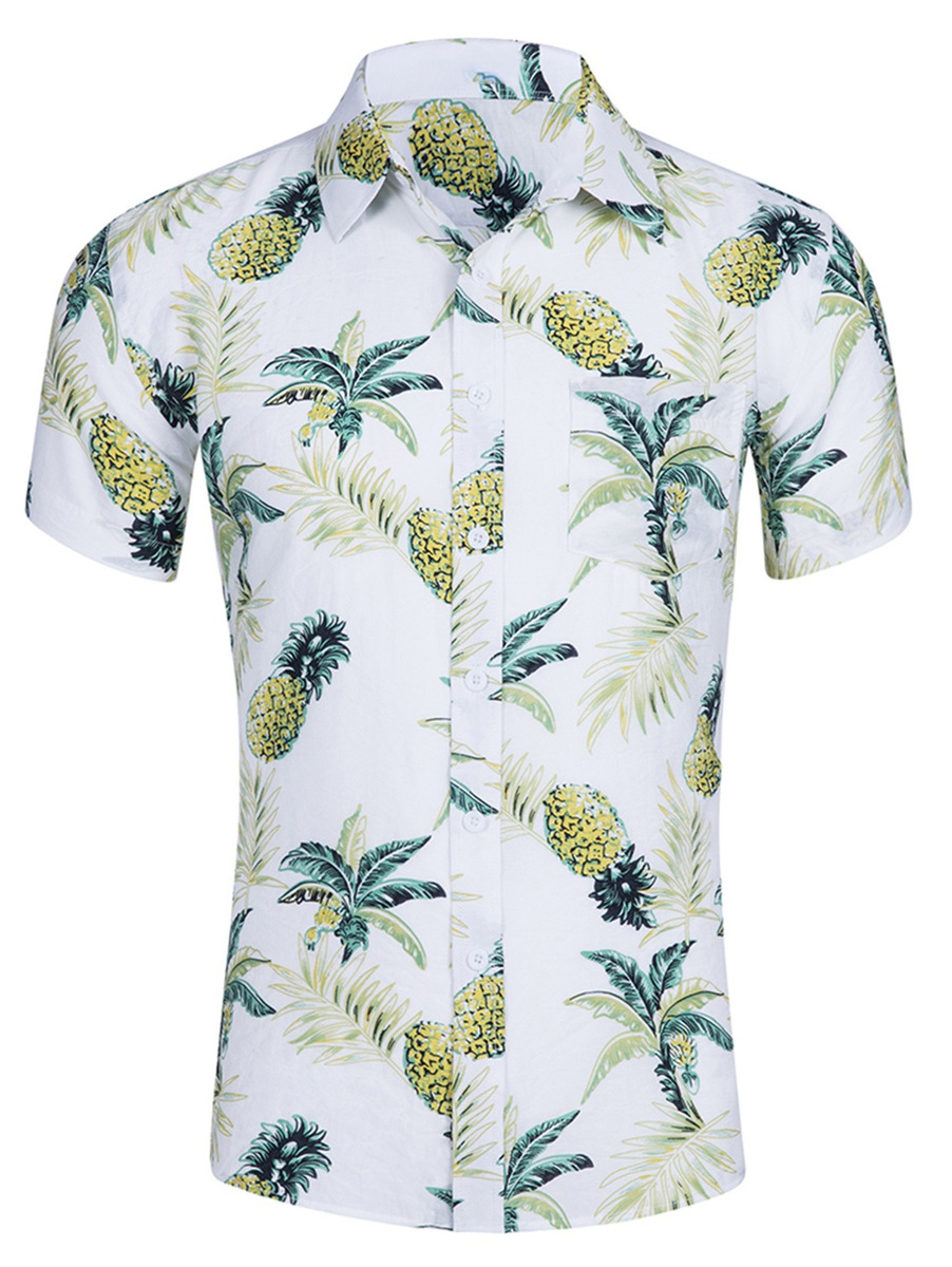 2217e2be81c7 Camisa De Playa Con Estampado De Piña Para Hombre