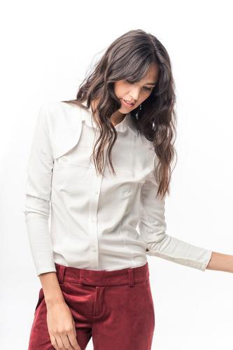 camisa de satén stretch blanco puño ancho y canesú giacca