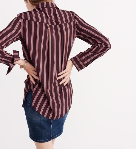 camisa de seda abercrombie & fitch tamanho m listrada