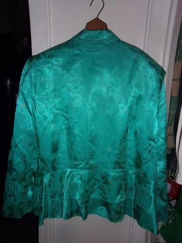 camisa de seda con volados para dama, talle l
