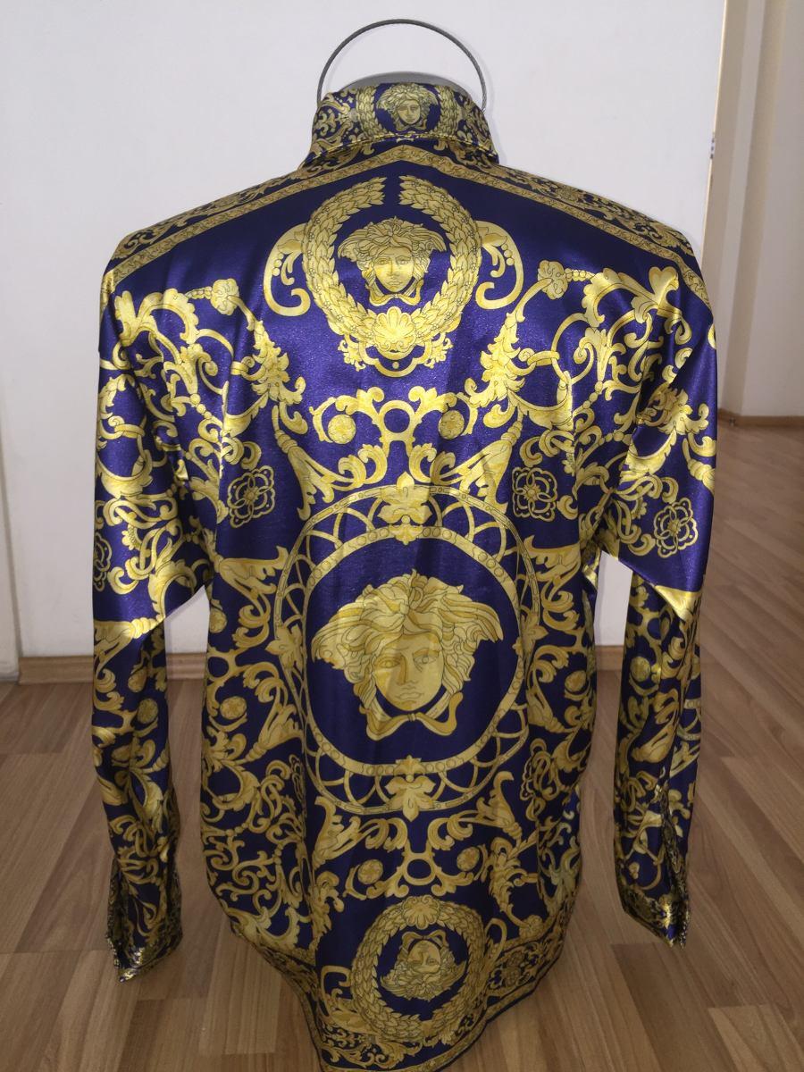 Camisa De Seda Estilo Italiano Versace fd4bdc1ab0b