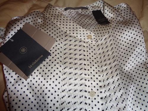 camisa de seda liz clairbone importada usa con etiqueta t.14