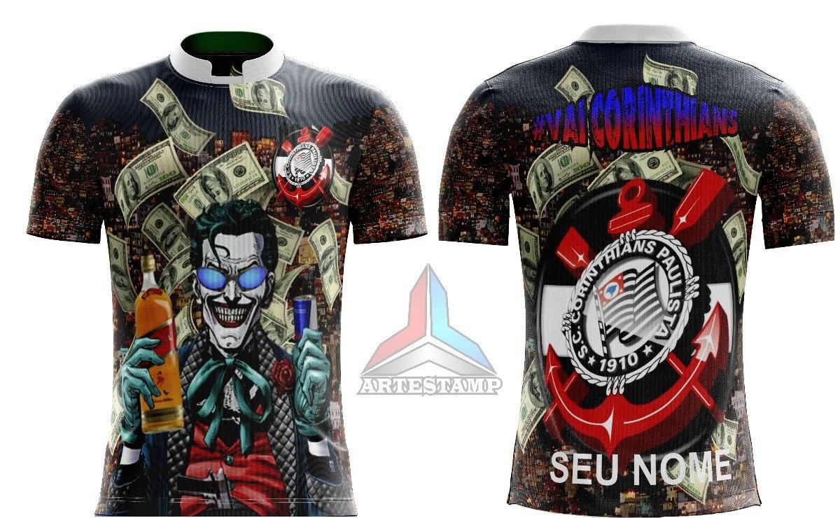 b5306d5a5c3f0 Camisa De Torcida Corinthians Coringa  Jocker  Favela  Timao - R  45 ...