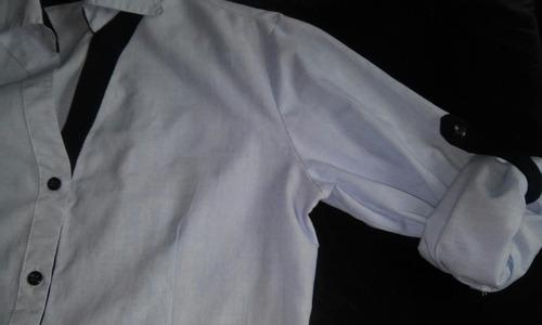 camisa de trabajo celeste mangas ajustables.