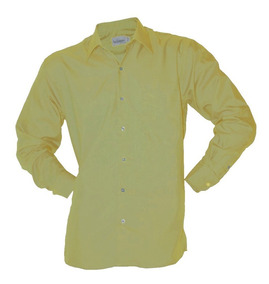 Camisas Bunbury - Camisas Formal de Hombre Larga Amarillo en