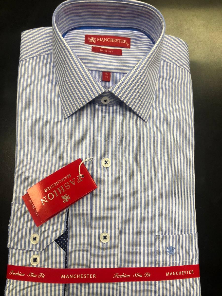 99a23056a156d Camisa De Vestir Azul Rayas Manchester -   799.00 en Mercado Libre
