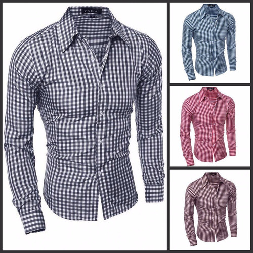 camisa de vestir casual cuadriculada slimfit al mejor precio