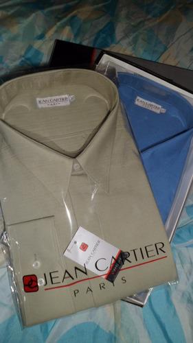 camisa de vestir  jean cartier talle 54 .tela liso / labrada