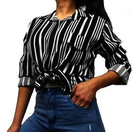 Camisa De Vestir M Larga A Manga 34 Para Mujer En Fibrana