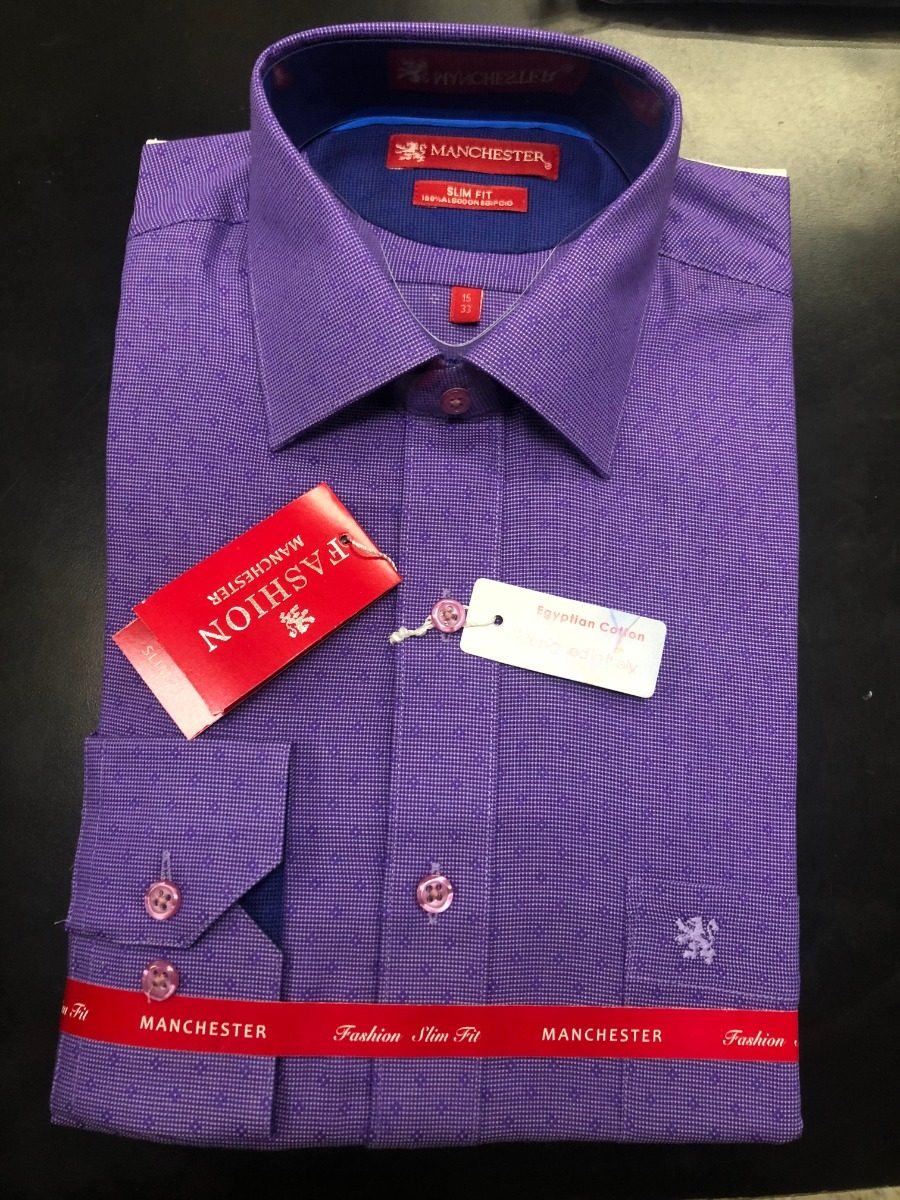 b90c8ea8f7a5a Camisa De Vestir Slim Morada Manchester -   799.00 en Mercado Libre