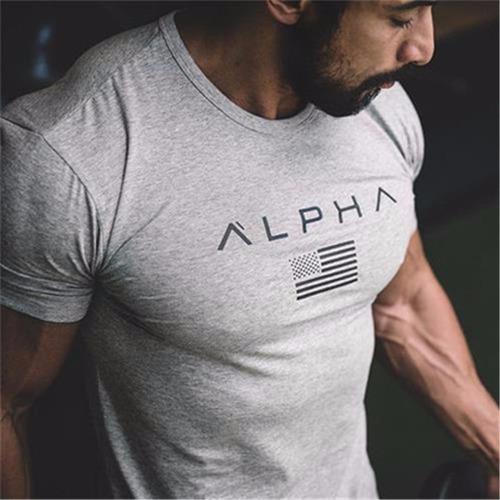 camisa del gym marca alpha original, camiseta apretada.