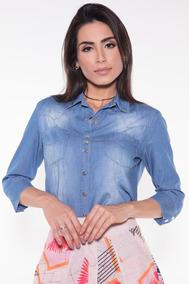 868c9395bc Camisas Jeans Feminina Via Tolentino - Calçados