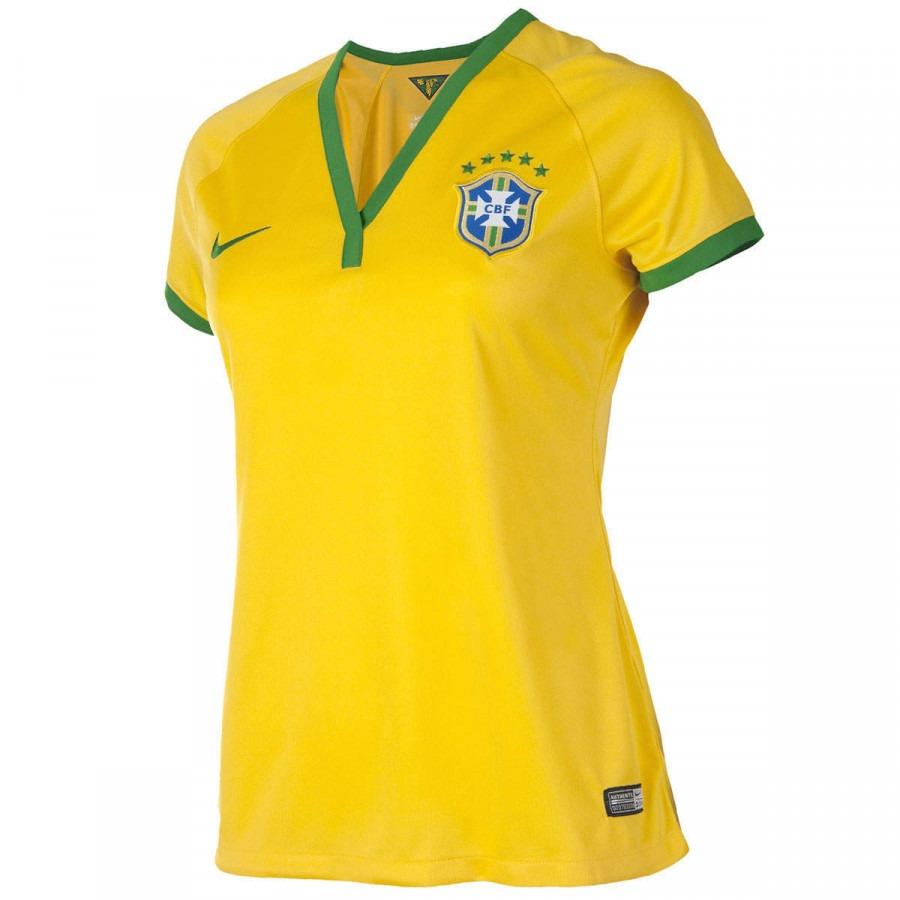 5da2cb9c9d967 Camisa Do Brasil Amarela Nike Torcedora 2014 S n°- Feminina - R  129 ...