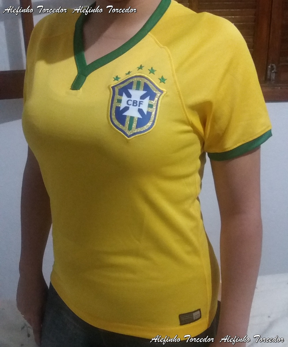 camisa do brasil feminina 2014 nike. Carregando zoom. 93c029978a46d