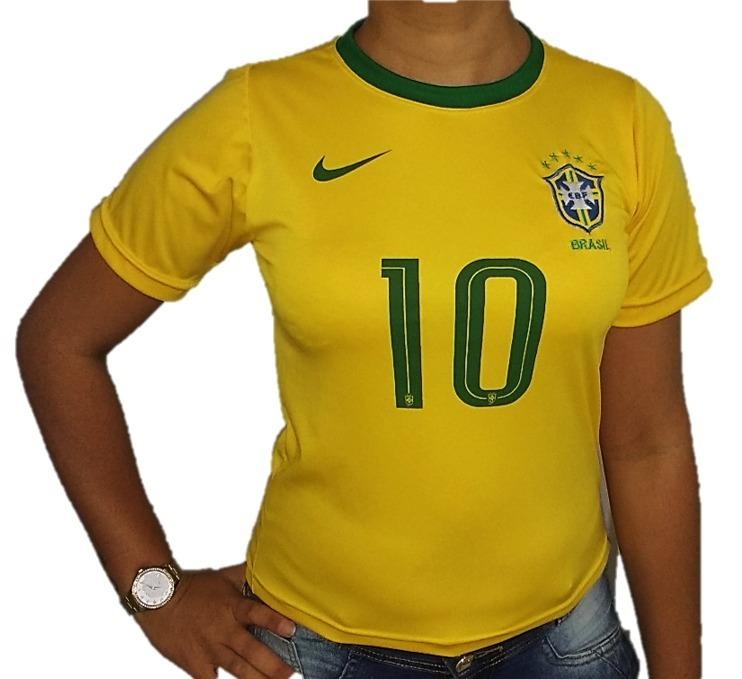 387b257750 Camisa Do Brasil Feminina Neymar 10 Promoção Saldão 2019 - R  29