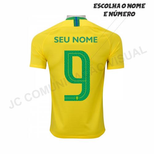 Camisa Do Brasil Personalizada Com Seu Nome - R  35 196cca9dbc143