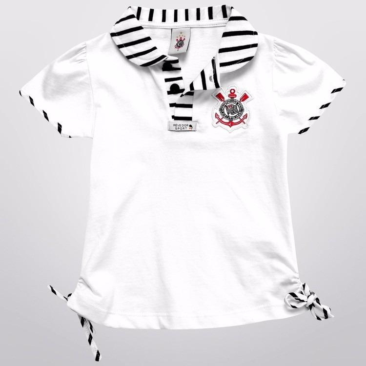 8c3e1c4232 Camisa Do Corinthians Infantil Polo Oficial Menina - R  56