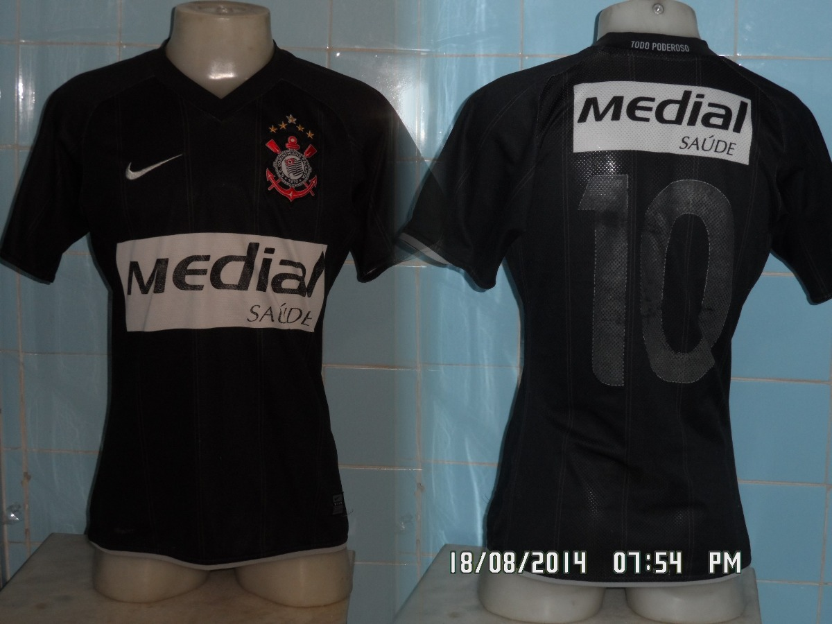 5539d4c5b6 Camisa Do Corinthians Medial Saúde 2008 N 10 Preta - R  80