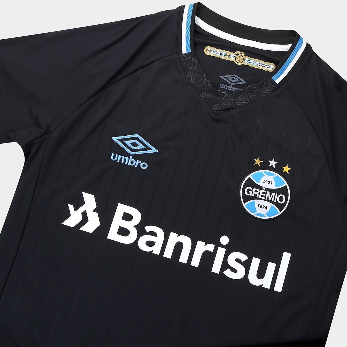 Camisa Do Grêmio Preta 18 19 - Frete Grátis - R  189 2baaf9fd89546