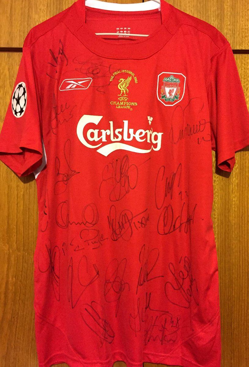 996f530e23 camisa do liverpool final champions 2005 autografada todos. Carregando zoom.