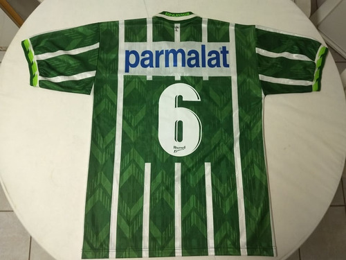 camisa do palmeiras autografada - nº 6 - parmalat - ano 1996