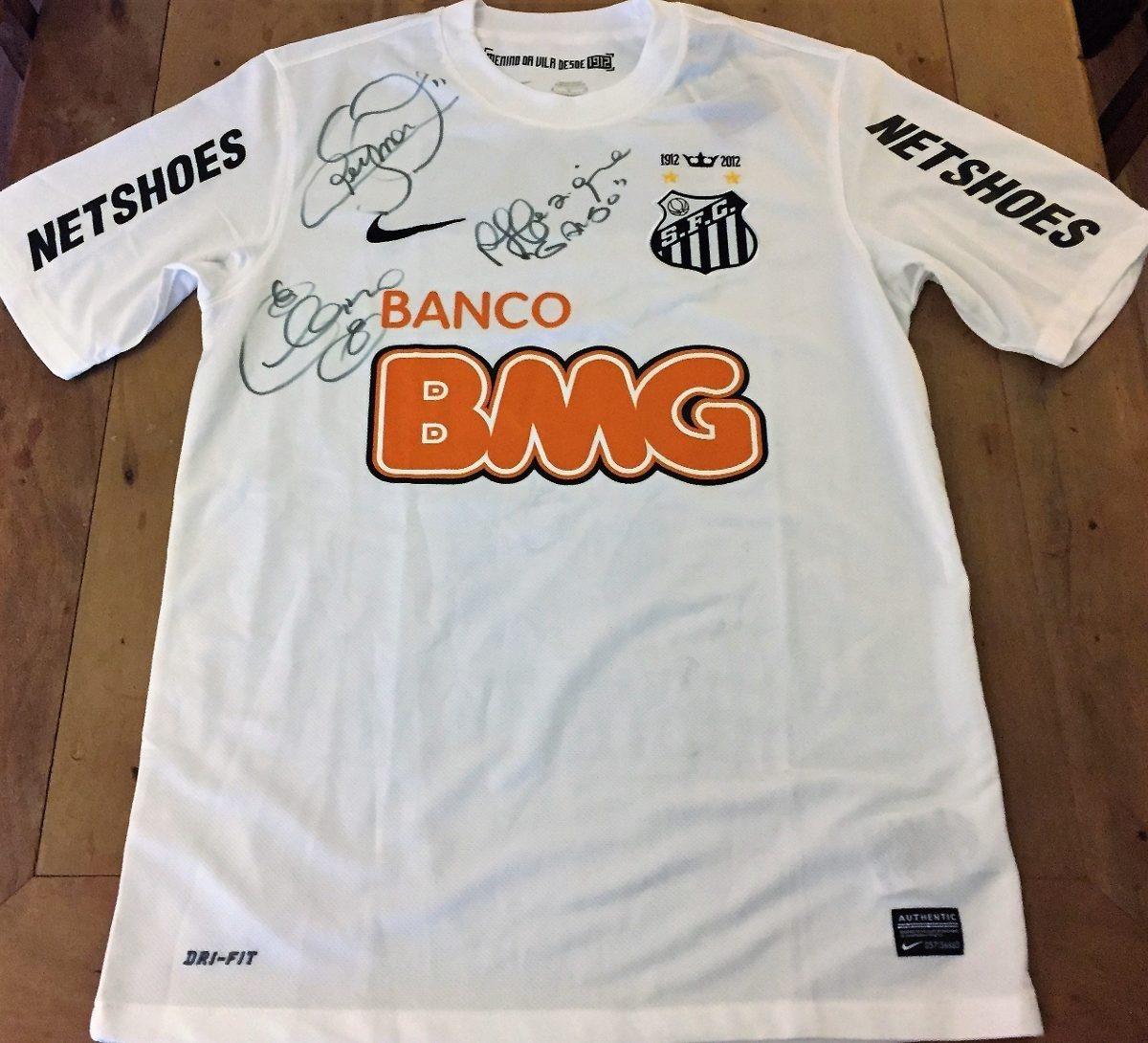 Camisa Do Santos Centenário Autografada Neymar 86e8bc12f7cd6