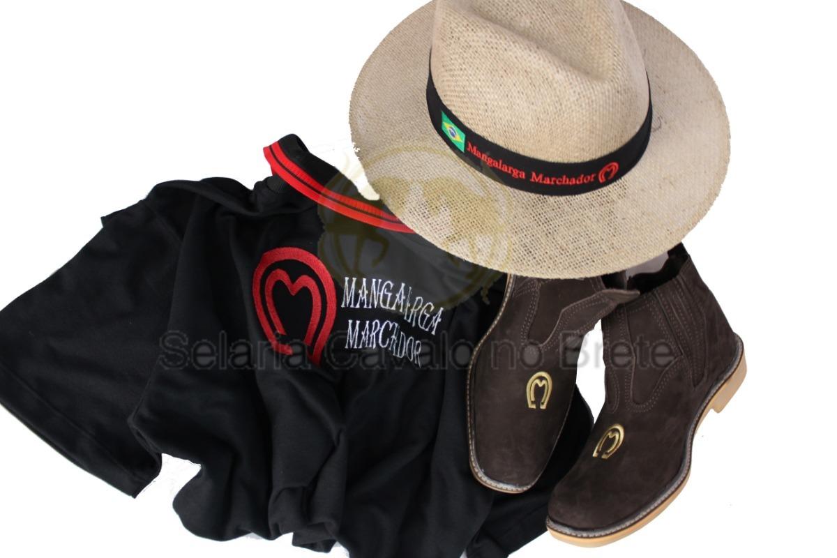 Camisa E Botina De Couro Mangalarga + Chapéu Peao Oferta - R  239 fd14b55c8cb