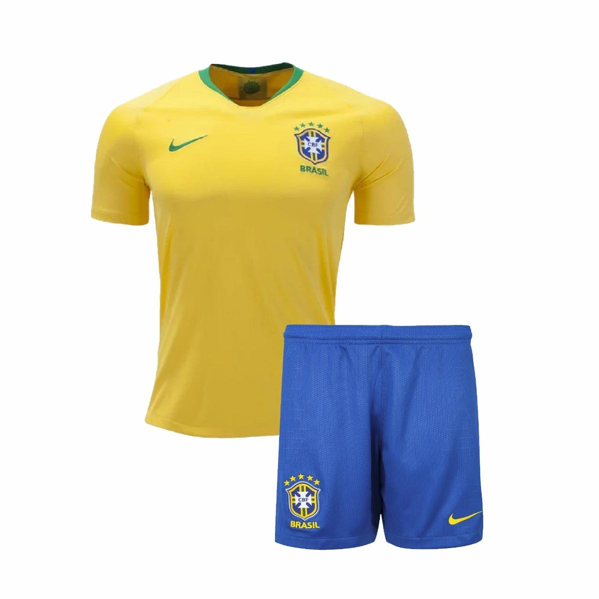 camisa e shorts kit infantil seleção brasil copa 2018. Carregando zoom. 4a6531571abe1
