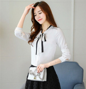 736da5f88f69 Camisa Elegante Blanca Manga 3/4 Casual Ladies Blouse Mujer
