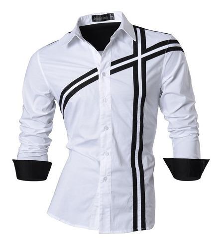 camisa elegante manga larga nuevos hombre a la moda estilo