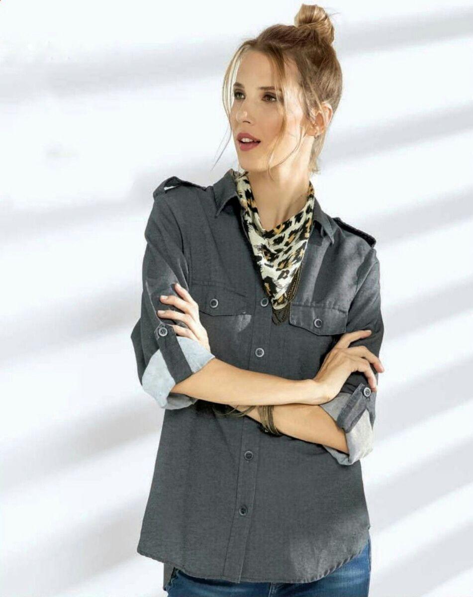 046b2111ae camisa elvira mujer gris denim casual excelente calidad moda. Cargando zoom.