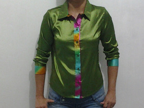 7878a7d430 Camisa Cetim Seda - Camisa Manga Longa Femininas no Mercado Livre Brasil