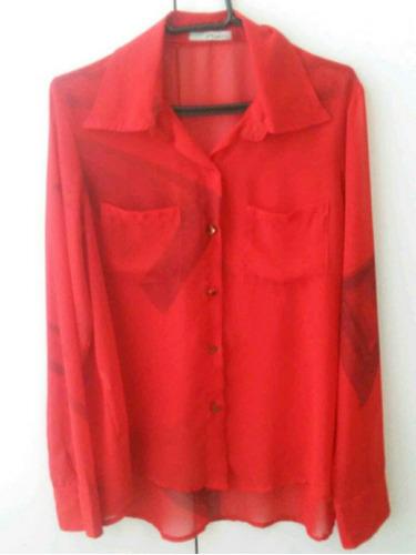 camisa em chiffon musseline vermelha