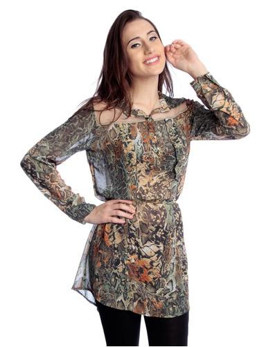 camisa em chifon com tule - frete gratis