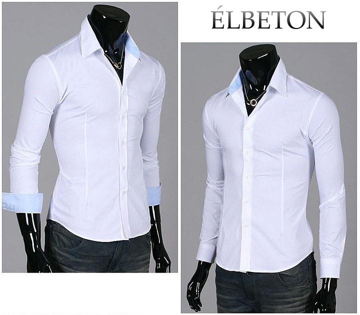 9ab9d6740dd51 Camisa Entallada Slim Fit Hombre Élbeton Lisa Casual -   549