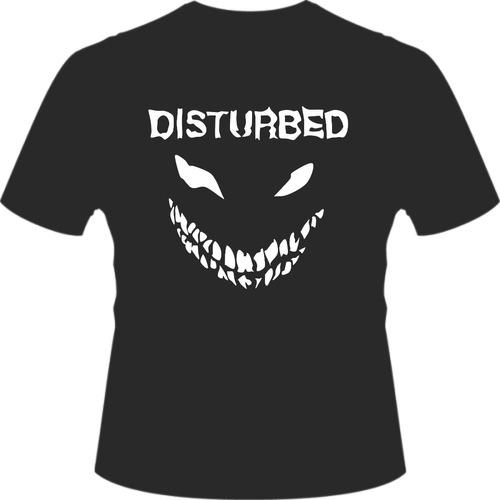 camisa estampada banda preta disturbed rock metal camiseta