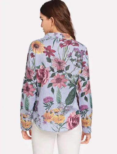 9eb15b8ec6 Camisa Estampada Flores -   340.00 en Mercado Libre
