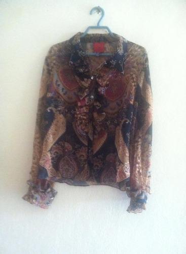 camisa estampada transparente j s collection talla s
