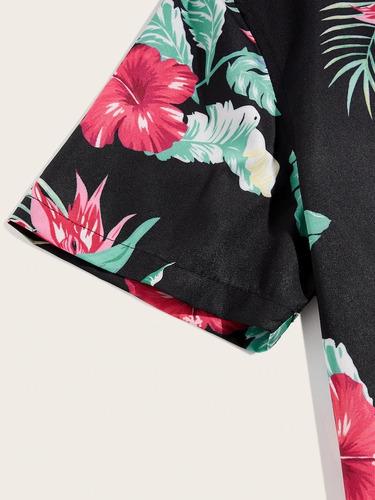 camisa estampado floral tropical negra hombre playa