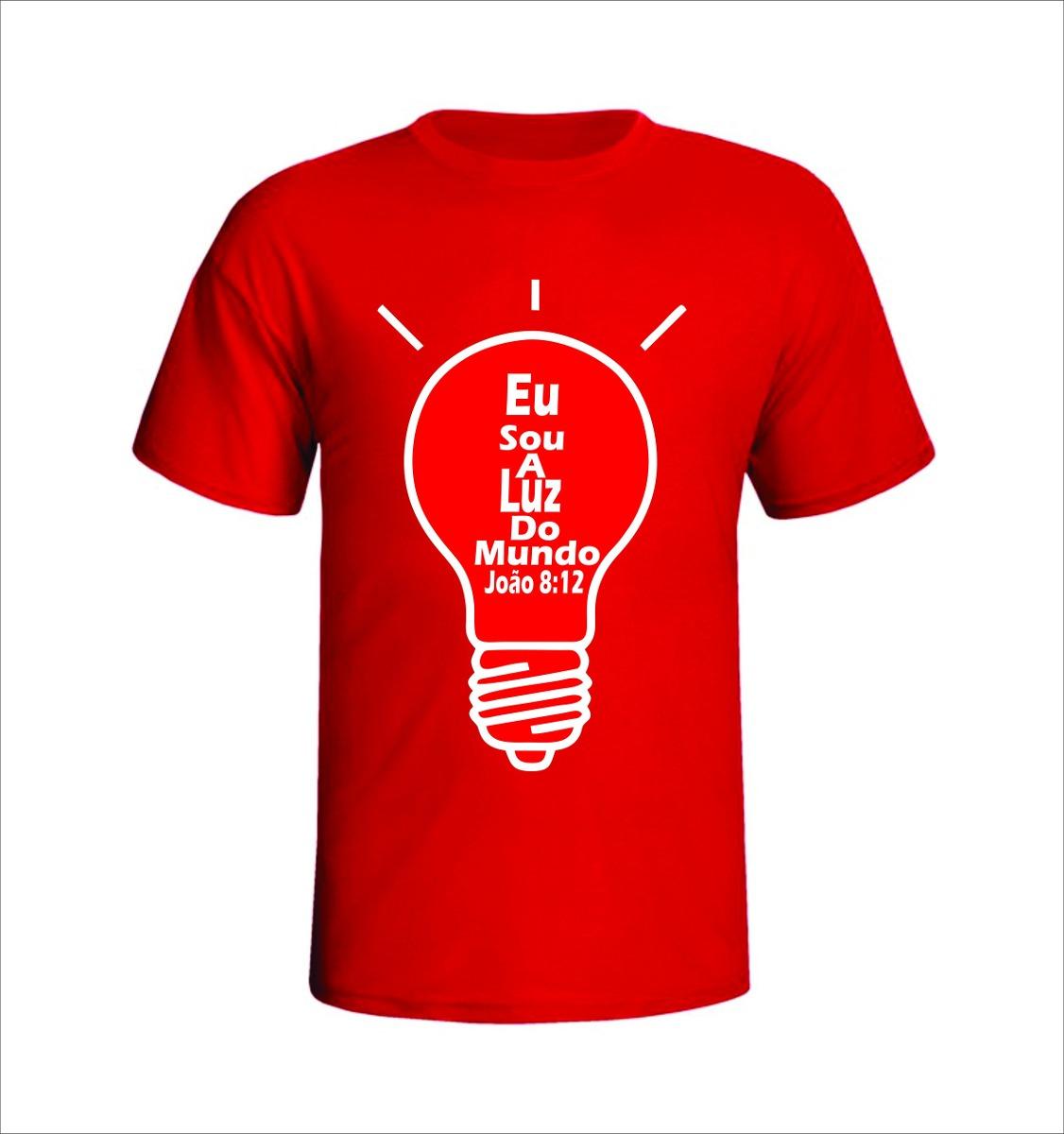 Camisa Evangelica Eu Sou A Luz Do Mundo Vermelha C  Branca - R  19 ... c20f4e00f8d8e