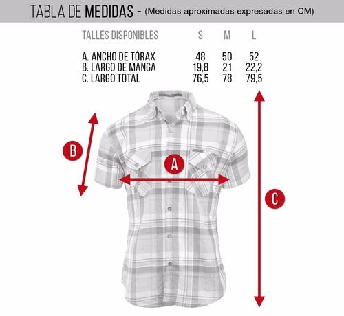camisa farenheite cuadros manga corta