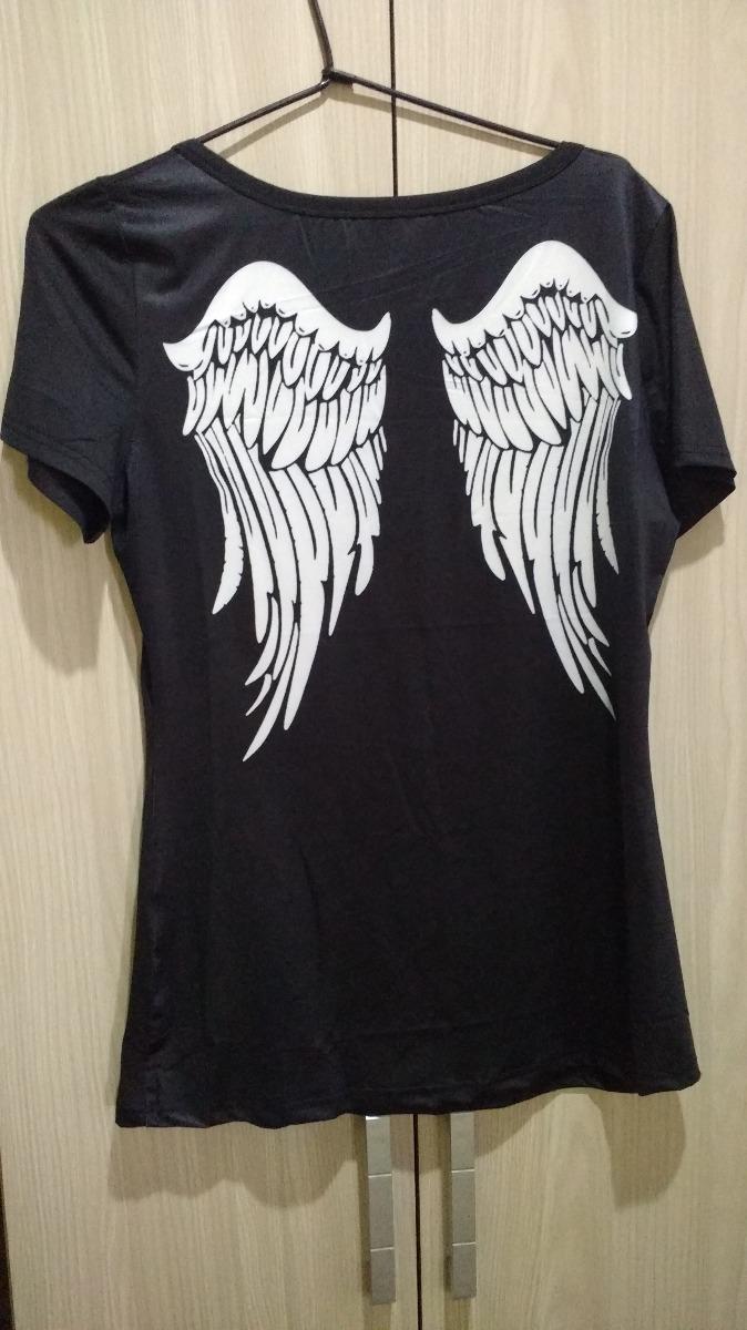 0d3c254d9 camisa feminina asas de anjo nas costas. Carregando zoom.