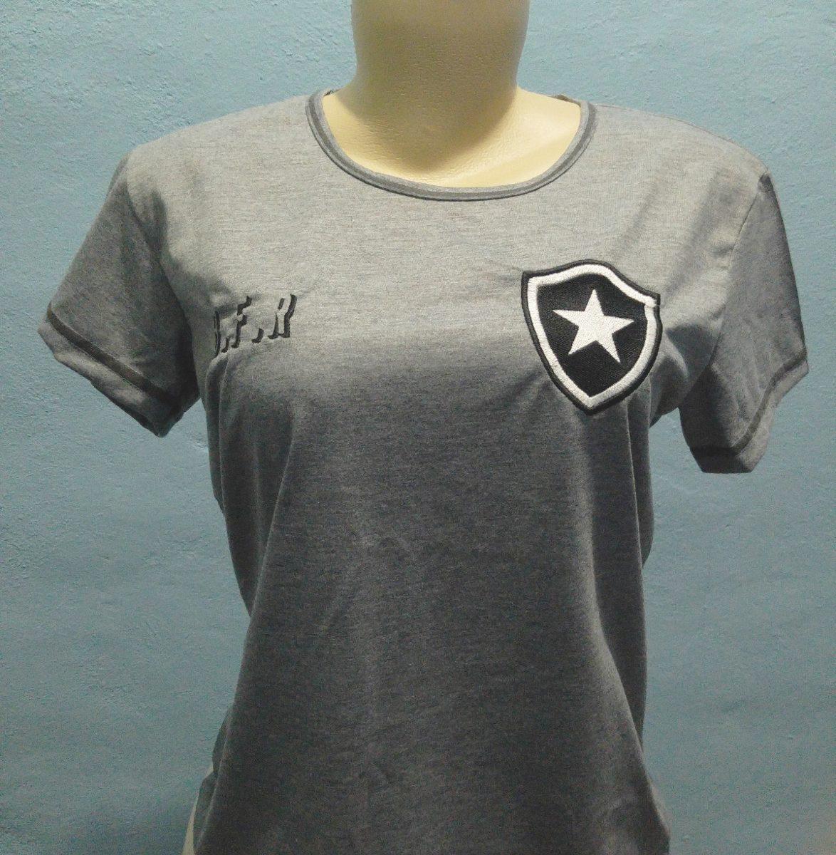 66bc52af86 camisa feminina baby look do botafogo cor cinza na promoção. Carregando  zoom.