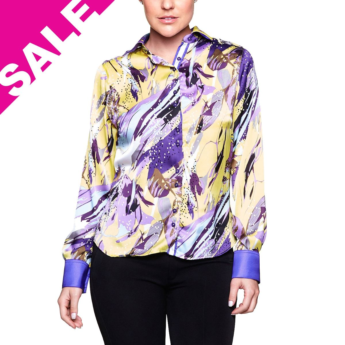 Camisa Feminina Blusa Estampada Floral Roxa E Amarela Manga - R  39 ... 83c23260266d9
